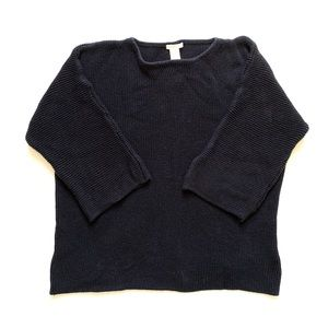 H&M Basic Sweater Navy Purl Knit Oversized Small